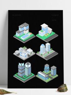 2.5D立体城市街道建筑场景元素套图