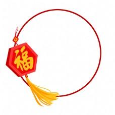 手绘中国风福字边框插画