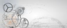 灰白色系齿轮科技背景无分层