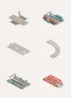 简约火车铁轨素材设计