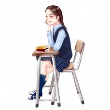 课桌补习书桌学习看书学生读书阅读写作业手绘卡通女孩