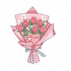 手绘花可爱卡通玫瑰花束