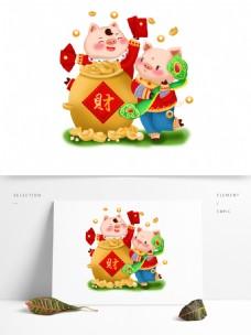 2019新年猪之招财拿红包拿如意吉祥物