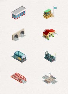 工业化建筑等距素材设计