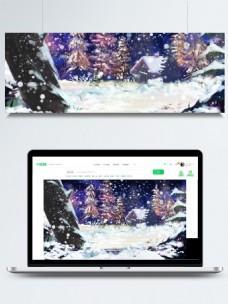 紫色梦幻森林大雪背景设计