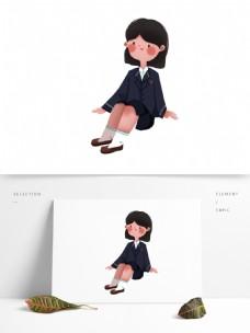 卡通穿着校服的女孩可商用元素