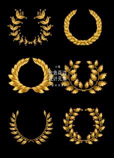 金色叶子花边装饰图案矢量设计元素
