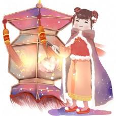 元旦时节莲花灯和红灯笼的唐装少女