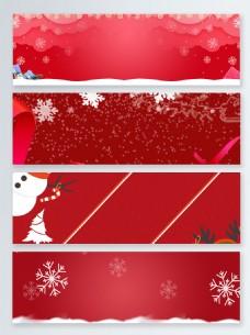 喜庆雪地冬天色圣诞节banner背景
