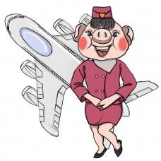 2019猪年各行各业吉祥物小猪-空姐