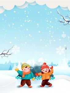冬至节气雪中的儿童背景素材