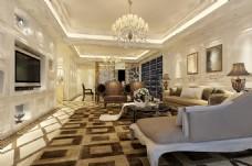 现代欧式花纹地毯床榻沙发电视墙效果图模型