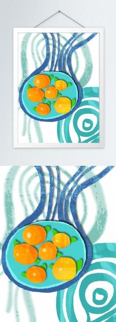 简约水蓝色水果盘客厅装饰画