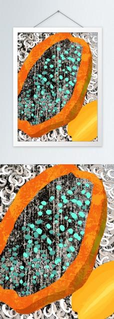 现代简约手绘截面木瓜客厅装饰画