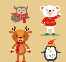 创意微笑冬季动物