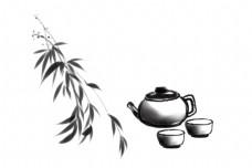 古风茶壶茶杯插画