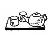 托盘上的茶壶茶杯