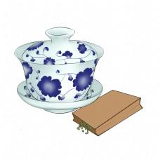 卡通青花瓷茶插画