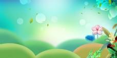 小清新绿色春天背景