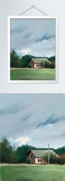 旷野静谧乡村板绘装饰画