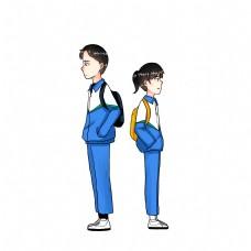 学生校园情侣运动校服手绘卡通人物男女