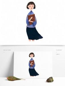 手绘可爱民国女学生原创元素