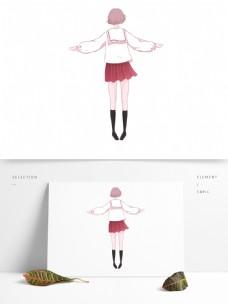 手绘卡通女孩踮脚原创元素