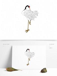 手绘水墨画丹顶鹤中国风仙鹤可商用素材