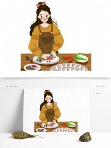 彩绘切菜做饭的女孩可商用元素