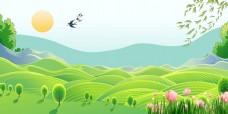 手绘卡通绿色风景背景