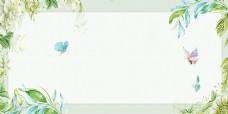 浪漫手绘绿色花卉背景