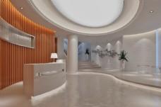 现代简约风格办公空间前台设计效果图