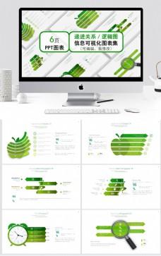 綠色清新遞進關系邏輯圖ppt圖表合集