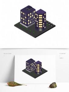2.5D立体城市街道夜晚建筑场景元素