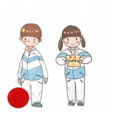 中学校服男生女生卡通学生手绘PNG