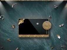 大气黑金高档猪年主题vip卡背景设计
