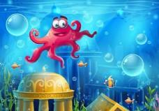 蓝色海底世界红色章鱼