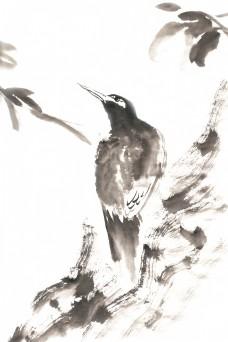 树干上的鸟水墨画PNG免抠素材