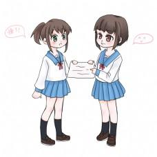 学习系列之两个女同学在交流考试成绩