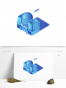 25d建筑渐变城堡酒店