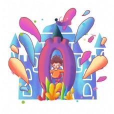 彩色城堡数字设计倒计时