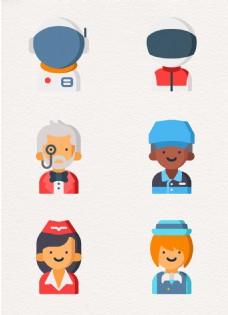 扁平化职业儿童头像设计