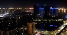 惠州航拍城市夜景金山湖