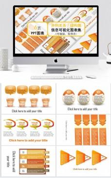 橘黄暖色并列关系结构图ppt图表合集