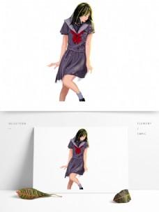 唯美女学生漫画人物设计