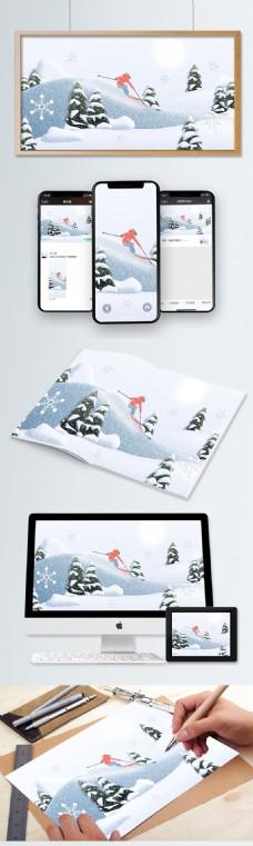 冬日剪纸风滑雪场景
