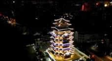 惠州延时航拍夜景合江楼