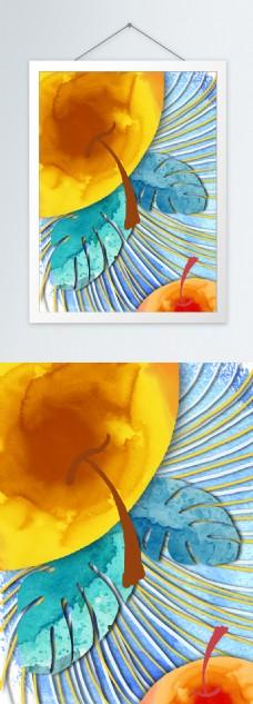 简约橘色水彩手绘苹果客厅装饰画