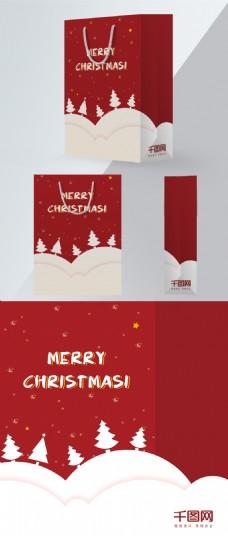 红色圣诞节简约风手绘风格创意包装袋