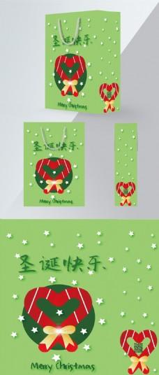 原创圣诞节绿色手提袋手杖糖手绘简约风